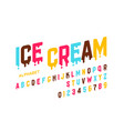 melting ice cream font alphabet letters and vector image