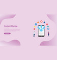 mobile sharing content media concept for website vector image vector image