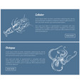 octopus and lobster seafood vintage icons vector image vector image