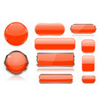 orange glass buttons collection 3d icons vector image