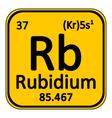 Periodic table element rybidium icon vector image vector image