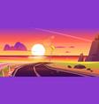 road to sea beach sunset landscape asphalt way vector image vector image