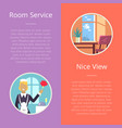 room service and nice view vector image vector image