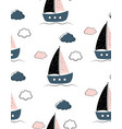 sailboats pattern on white vector image vector image