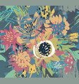 seamless pattern with flowers and hand vector image