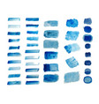 set blue hand painted watercolor textures vector image vector image