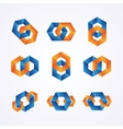 set creative chain logos vector image