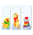 Set of 3 vertical banners with christmas cats vector image