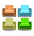set of armchairs front view isolated on vector image