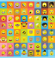 set of emoticons of emoji isolated vector image