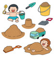 set of kid playing sand vector image