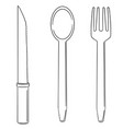 set of knife spoon and fork vector image vector image