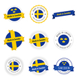Set of Made in Sweden labels and ribbons vector image vector image