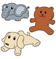 set of stuffed animals vector image
