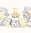 sliced chunks sketched cheese for shop banner vector image vector image