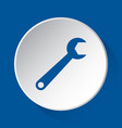 spanner simple blue icon on white button vector image vector image