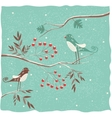 Two birds on the branch Winter background vector image vector image