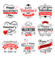 vintage valentines day banners for love vector image