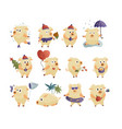 webnew year 2019 set with christmas cartoon pigs vector image vector image