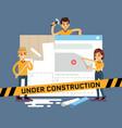 website under construction cartoon concept vector image
