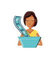 woman black with laptop and video tape vector image vector image