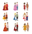 Couples Wearing National Costumes Set vector image