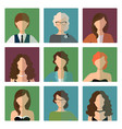 female avatars set in office style vector image