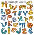 funny cats doodles set color vector image