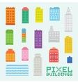 Pixel art isolated buildings set vector image