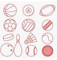 Sport balls red thin line design vector image