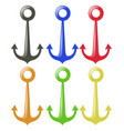 anchor in six different colors vector image vector image