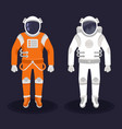 astronaut and cosmonaut on dark background vector image