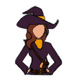 beautiful woman with witch costume cartoon vector image