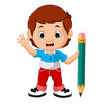 Boy holding big pencil