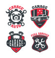 car service or repair station logo garage signs vector image vector image