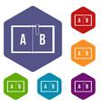 children abc icons set hexagon vector image vector image