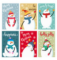 christmas card collection with snowman and wishes vector image
