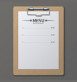 classic restaurant menu on paper sheet in vector image
