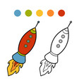 coloring book spaceship vector image vector image