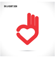 Creative hand and heart shape abstract logo design vector image