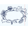 cute doodle floral abstract frame vector image