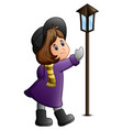 cute little girl with lamppost vector image vector image