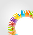 Design element with colorful hands vector image vector image