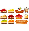 Different types of cakes and pie vector image vector image
