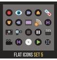 Flat icons set 5 vector image