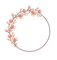 floral frame wreath with magnolia blooming flowers vector image
