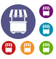 food trolley with awning icons set vector image vector image