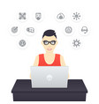 freelancer working with laptop vector image