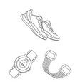 gym and training outline icons in set collection vector image