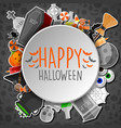hallowen round stickers and black bayground vector image vector image